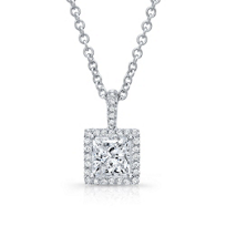 18K_Princess_Cut_Diamond_&_Round_Diamond_Halo_Pendant,_18""