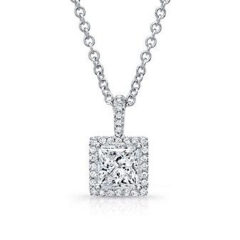 """18K Princess Cut Diamond & Round Diamond Halo Pendant, 18"""""""
