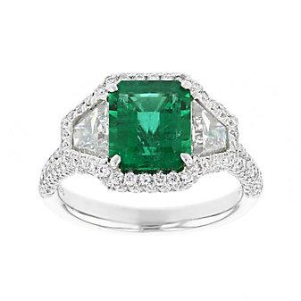 j.b. star platinum emerald cut emerald & diamond ring