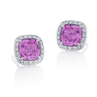 j.b. star platinum cushion pink sapphire and pave diamond earrings