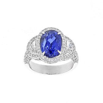 j.b. star platinum oval sapphire & diamond milgrain ring