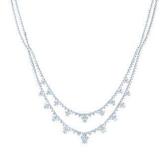 kwiat platinum 2 row diamond legacy collection necklace, 16.5""