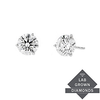 14k white gold lab grown diamond martini round stud earrings, 1.83cttw
