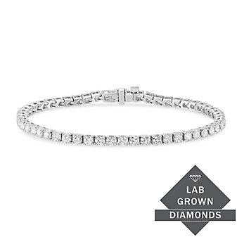 "14K White Gold Lab Grown Prong Set Diamond Tennis Bracelet, 7"""
