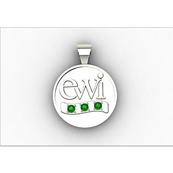 EWI Chapter President Charm 10K White Gold with Tsavorites
