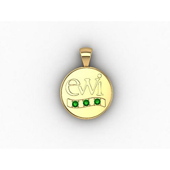 EWI Chapter President Charm 10K Yellow Gold with Tsavorites