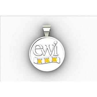 EWI Chapter Board Charm 10K White Gold with Citrines