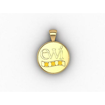 EWI Chapter Board Charm 10K Yellow Gold with Citrines