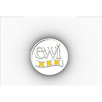 EWI Chapter Board Pin 14K White Gold with Citrines