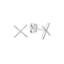 "14K_White_Gold_Diamond_""X""_Earrings"