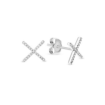 """14K White Gold Diamond """"X"""" Earrings"""