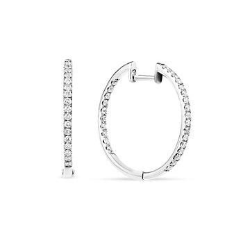 14K White Gold Round Diamond Inside-Out Diamond Hoop Earrings