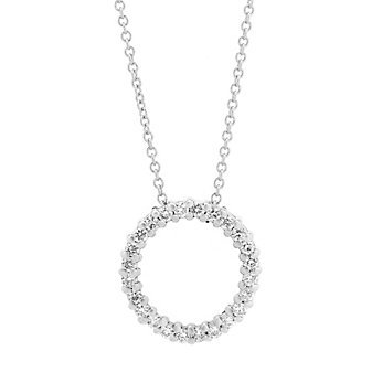 14K White Gold Diamond Open Circle Pendant