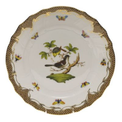 Herend Rothschild Bird Brown Border Dinnerware