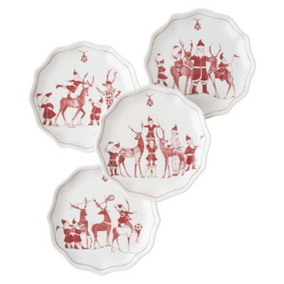 juliska country estate ruby reindeer games tidbit plate set of 4