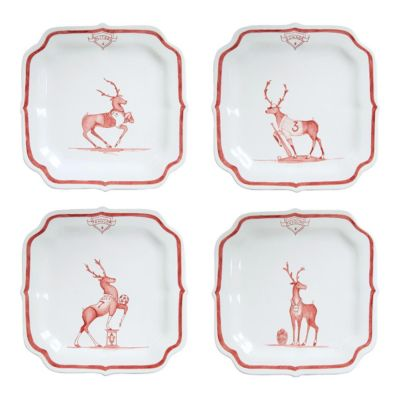 juliska country estate ruby reindeer games team party plate set of 4