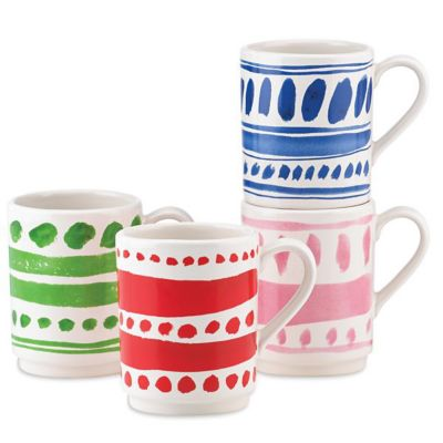 Kate Spade All In Good Taste Pretty Pantry 4-Piece Stacking Mug Set