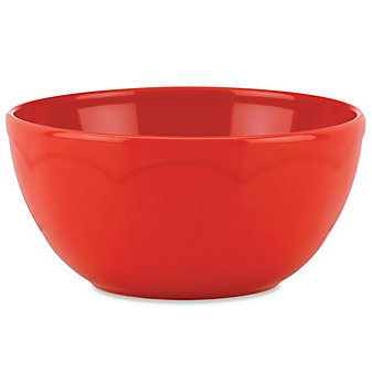 """Kate Spade All In Good Taste Sculpted Scalloped 6"""" Red Bowl"""