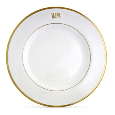 Pickard White Signature Gold Dinner Plate Monogrammed