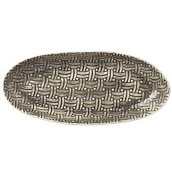 Wonki Ware Basketweave Black Large Oblong Platter