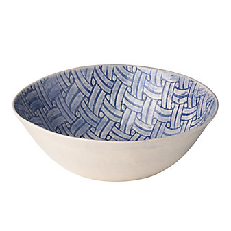 Wonki Ware Basketweave Blue Small Round Salad Bowl