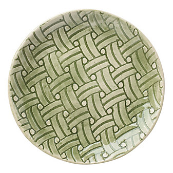 Wonki Ware Basketweave Green Accent Plate