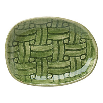 Wonki Ware Basketweave Green Salsa Plate
