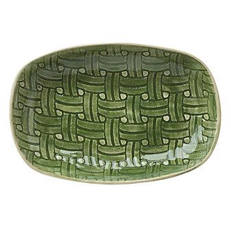 Wonki Ware Basketweave Green Medium Snack Plate