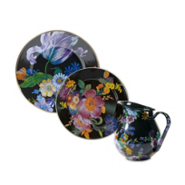 MacKenzie-Childs_Flower_Market_Enamel_Dinnerware,_Black