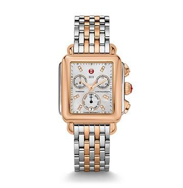 Michele Signature Deco Two-Tone Rose Gold Watch