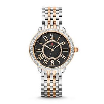 Michele_Serein_16_Diamond_Two-Tone_Rose_Gold_Black_Dial_Watch