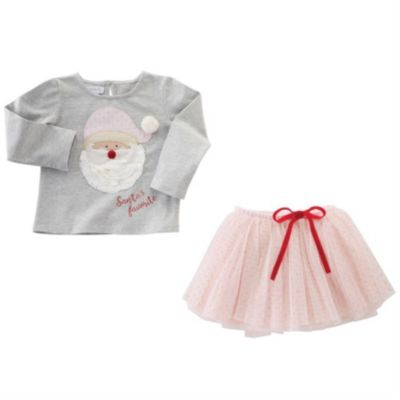 mud pie santa applique pink tutu skirt set