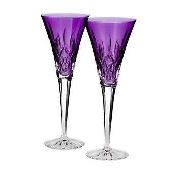 Waterford Lismore Amethyst Flutes Pair