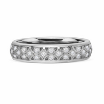 Precision Set 18k White Gold Lattice Diamond Band