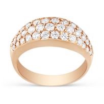 18k Rose Gold Three Row Diamond Band
