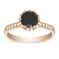 14K Rose Gold Black and White Diamond Engagement Ring