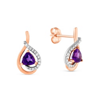 14k Rose and White Gold Amethyst & Diamond Earring