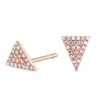 14k Rose Gold Diamond Triangle Earrings