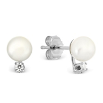 Cultured Pearl and Diamond Earrings