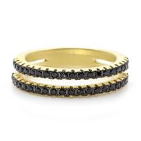 Freida Rothman Black Pave Double Row Ring